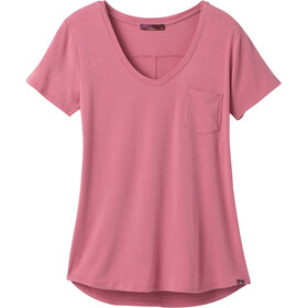 Prana Foundation Short Sleeve V Neck Shirt Women cassis heather